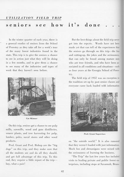 "The Cypress Knee, 1957, ""Utilization Field Trip"", pg. 62"