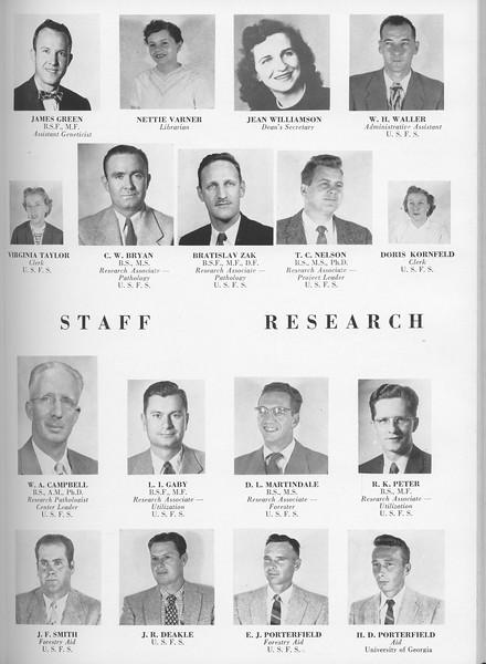 The Cypress Knee, 1957, Staff and Research, James Green, Nettie Varner, Jean Williamson, W. H. Waller, Virginia Taylor, C. W. Bryan, Bratislav Zak, T. C. Nelson, Doris Kornfeld, W. A. Campbell, L. I, Gaby, D. L. Martindale, R. K. Peter, J. F. Smith, J. R. Deakle, E. J. Porterfield, H. D. Porterfield, pg. 21