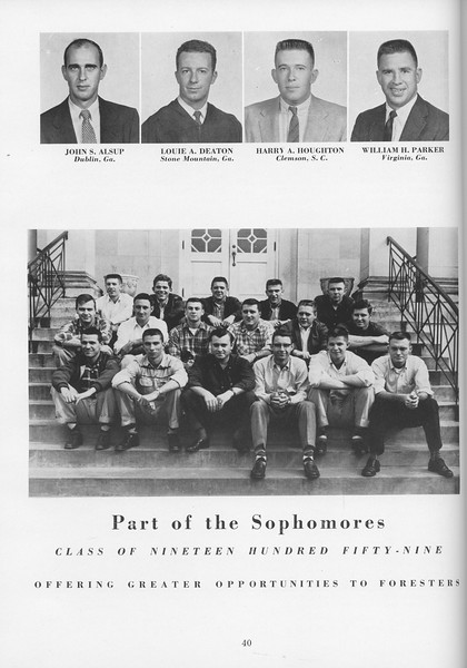 The Cypress Knee, 1957, Sophomore Class, John S. Alsup, Louie A. Deaton, Harry A. Houghton, William H. Parker, pg. 40