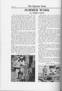The Cypress Knee, 1958, Summer Work, Terrill Davis, pg. 52