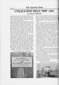 The Cypress Knee, 1958, Utilization Field Trip 1957, Oscar Fowler, pg. 54
