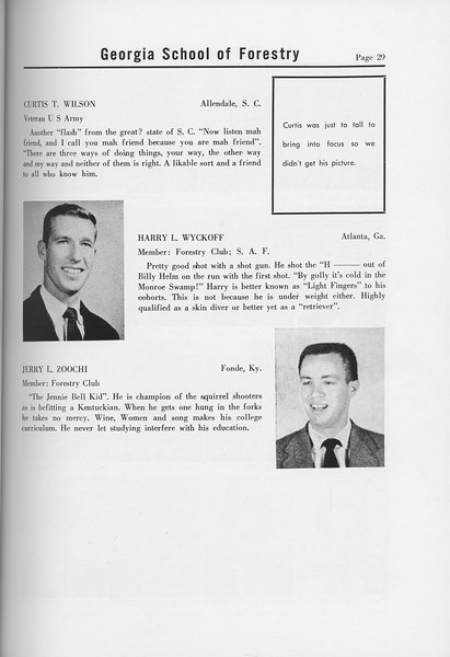 The Cypress Knee, 1958, Seniors, Curtis T. Wilson, Harry L. Wyckoff, Jerry L. Zoochi, pg. 29