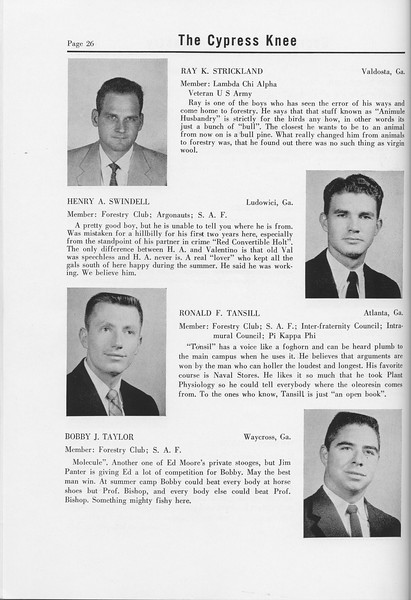The Cypress Knee, 1958, Seniors, Ray K. Stricklang, Henry A. Swindell, Ronald F. Tansill, Bobby J. Taylor, pg. 26