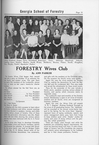 The Cypress Knee, 1958, Forestry Wives Club, Ann Parker, pg. 51