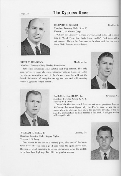The Cypress Knee, 1958, Seniors, Richard D. Griner, Hugh T. Hambrick, Dallas L. Harrison, William R. Helm, pg. 16