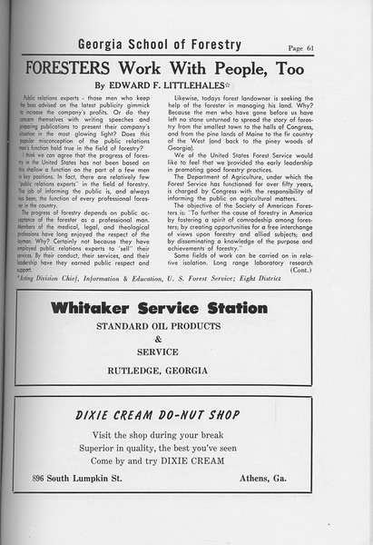 "The Cypress Knee, 1958, ""Foresters Work With People, Too"", Edward F. Littlehales, Whitaker Service Station, Dixie Cream Do-Nut Shop, pg. 61"