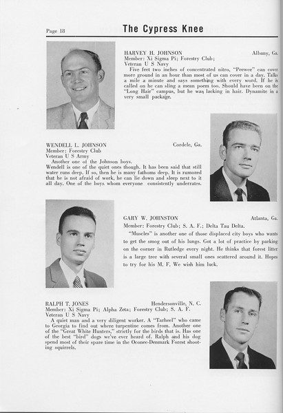 The Cypress Knee, 1958, Seniors, Harvey H. Johnson, Wendell L. Johnson, Gary W. Johnston, Ralph T. Jones, pg. 18
