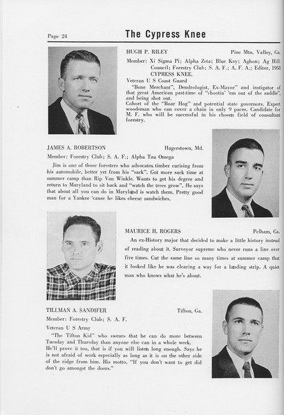 The Cypress Knee, 1958, Seniors, Hugh P. Riley, James A. Robertson, Maurice H. Rogers, Tillman A. Sandifer, pg. 24
