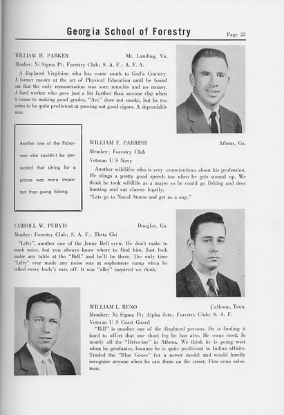 The Cypress Knee, 1958, Seniors, William H. Parker, William F. Parrish, Carroll W. Purvis, William L. Reno, pg. 23