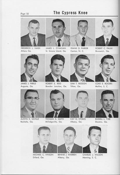 The Cypress Knee, 1958, Junior Class, Frederick L. Nash, James L. O'Hagan, Frank O. Parker, Robert C. Paulk, James J. Pirkle, Robert E. Reid, Sam T. Rigdon, Coke E. Rogers, Austin K. Saville, Thomas A. Smith, Cay G. Stokes, Russell L. Tyre, Michael C. Vinson, Bennie J. Warren, Charles J. Wilson, pg. 32