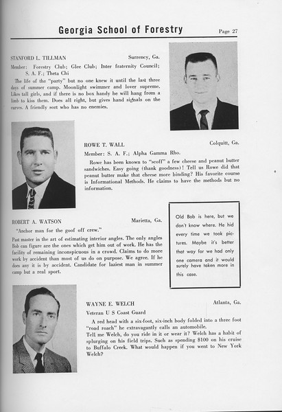 The Cypress Knee, 1958, Seniors, Stanford L. Tillman, Rowe T. Wall, Robert A. Watson, Wayne E. Welch, pg. 27