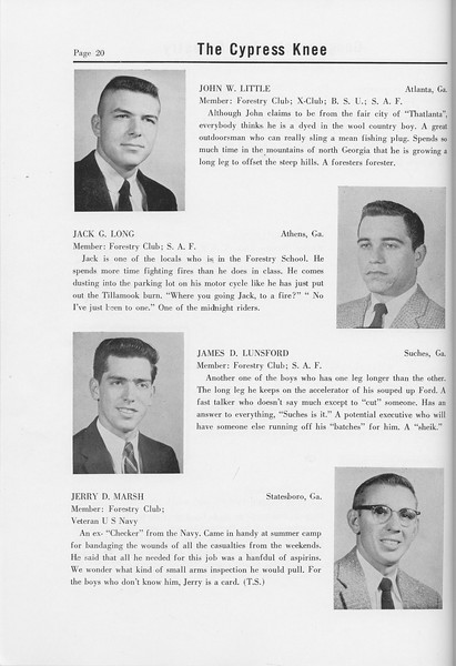 The Cypress Knee, 1958, Seniors, John W. Little, Jack G. Long, James D. Lunsford, Jerry D. Marsh, pg. 20