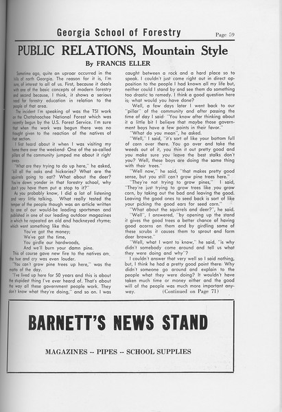 "The Cypress Knee, 1958, ""Public Relations, Mountain Style"", Francis Eller, Barnett's News Stand, pg. 59"