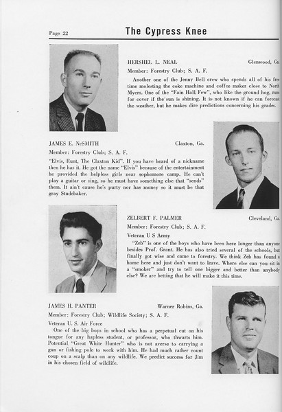 The Cypress Knee, 1958, Seniors, Hershel L. Neal, James E. NeSmith, Zelbert F. Palmer, James H. Panter, pg. 22