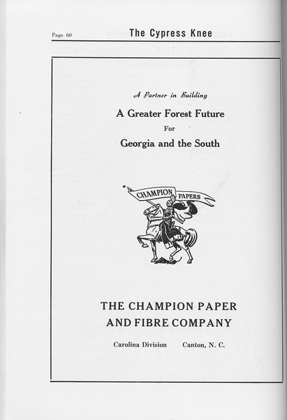 The Cypress Knee, 1958, The Champion Paper and Fibre Company, pg. 60