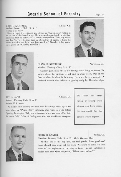 The Cypress Knee, 1958, Seniors, Alvin L. Kantziper, Frank D. Kitchings, Roy C. Land, Jerry R. Lanier, pg. 19