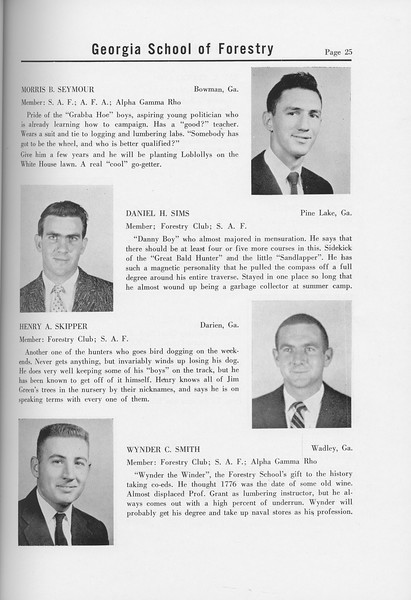 The Cypress Knee, 1958, Seniors, Morris B. Seymour, Daniel H. Sims, Henry A. Skipper, Wynder C. Smith, pg. 25