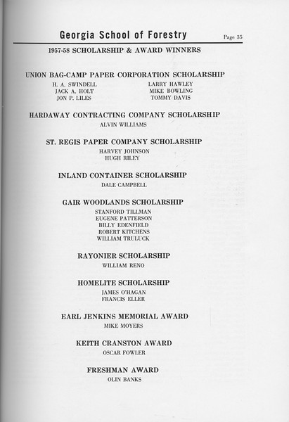 The Cypress Knee, 1958, Awards and Scholarships, pg. 35