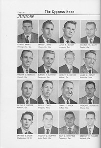 The Cypress Knee, 1958, Junior Class, Olin O. Banks, Frank L. Bates, Juan R. Beasley, Charles W. Beatty, William C. Beckham, Burton A. Blanton, Johnny C. Brewer, James L. Catlett, Glynn S. Chesser, Peter P. Chick, Travis P. Cook, Theron L. Devereaux, Charles D. Diller, William G. Durham, Billy G. Edenfield, George W. Flanders, pg. 30