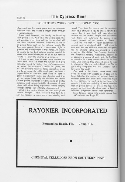 "The Cypress Knee, 1958, ""Foresters Work With People, Too!"" (continued), Rayonier Incorporated, pg. 62"