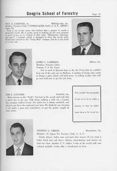 The Cypress Knee, 1958, Seniors, Paul E. Gardner, James C> Garrison, Tom E. Gaylord, Stephen G. Gibson, pg. 15