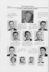 The Cypress Knee, 1959, Research Staff, W. A. Campbell, Bratislav Zak, R. K. Peter, L. I. Gaby, R. G. McAlpine, C. W. Bryan, W. H. Waller, C. D. Huppuch, Doris Kornfield, Maye Doster, J. R. Dekle, E. J. Porterfield, pg. 10