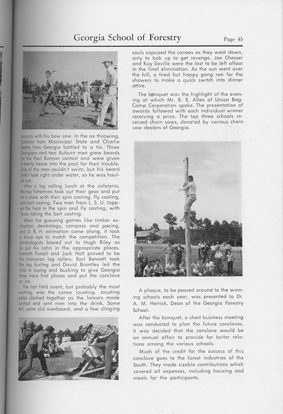 "The Cypress Knee, 1959, ""Forsestry School Conclave..."" (continued), pg. 45"