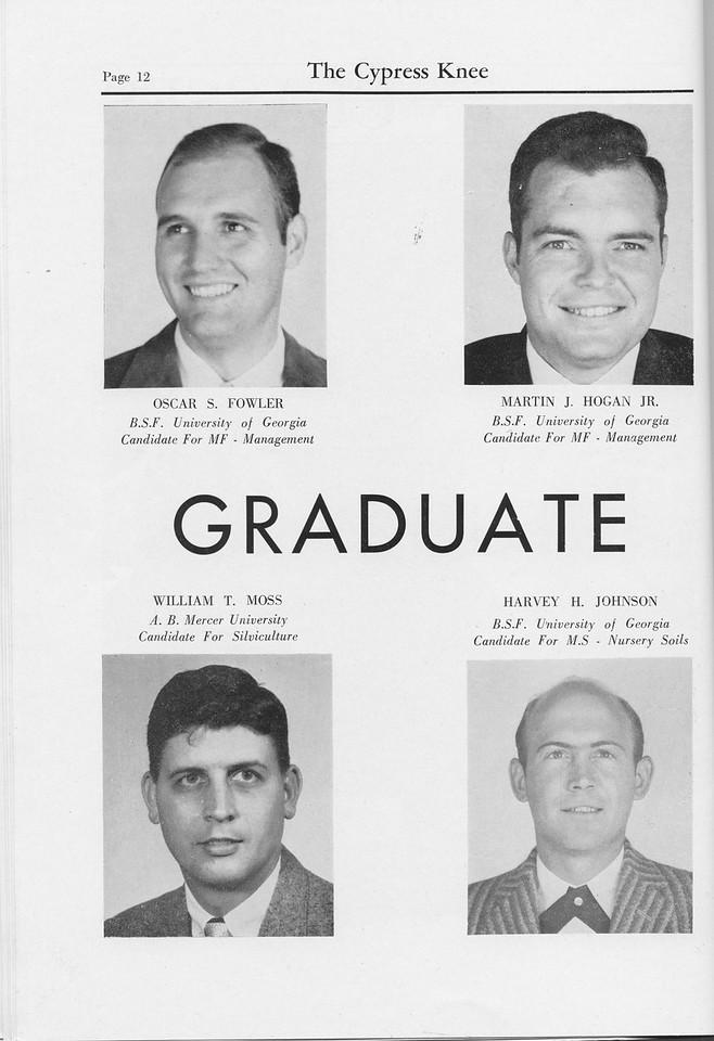 The Cypress Knee, 1959, Graduate Students, Oscar S. Fowler, Martin J. Hogan, William T. Moss, Harvey H. Johnson, pg. 12