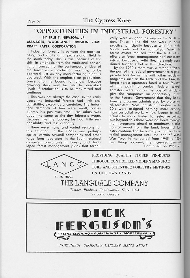 """The Cypress Knee, 1959, """"Opportunities in Industrial Forestry"""", EArle T. Newsom, The Langdale Company, Dick Ferguson's, pg. 52"""