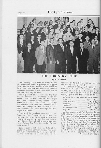 The Cypress Knee, 1959, The Forestry Club, pg. 40
