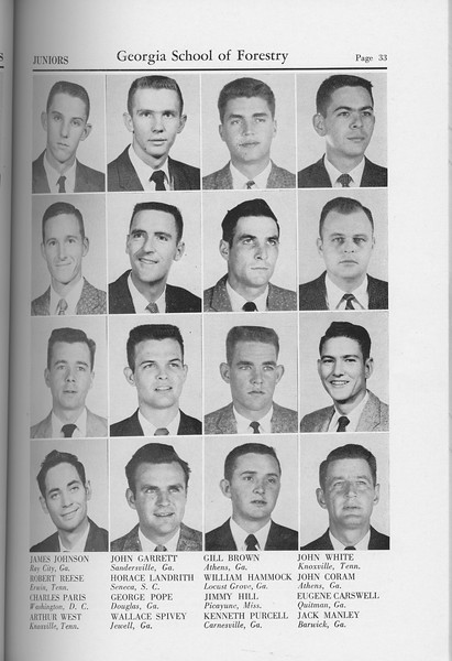 The Cypress Knee, 1959, Junior Class, James Johnson, John Garrett, Gill Brown, John White, Robert Reese, Horace Landrith, George Pope, Wallace Spivey, Charles Paris, Arthur West, William Hammock, Jimmy Hill, Kenneth Purcell, John Coram, Eugene Carswell, Jack Manley, pg. 33