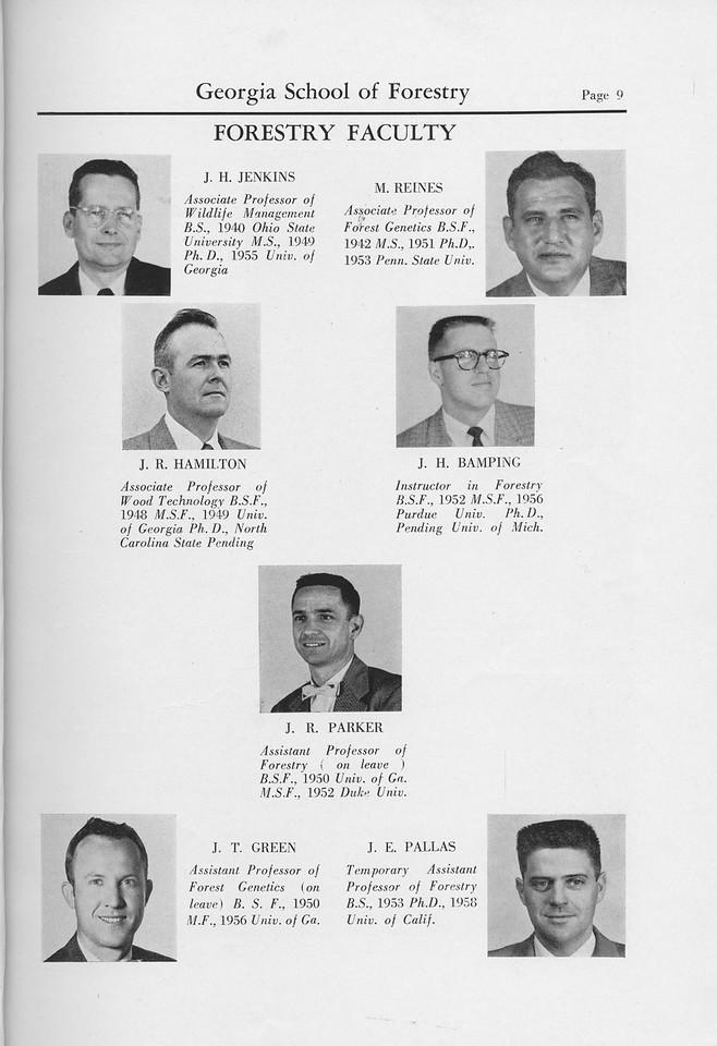 The Cypress Knee, 1959, Faculty, J. H. Jenkins, J. R. Hamilton, J. H. Bamping, M. Reines, J. R. Parker, J. T. Green, J. E. Pallas, pg. 9