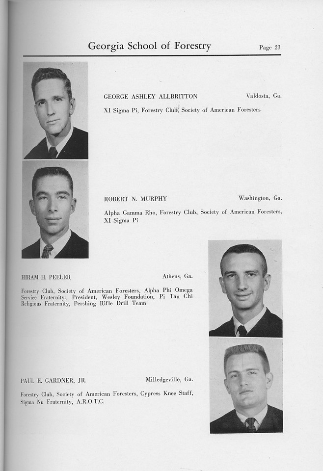 The Cypress Knee, 1959, Seniors, George Ashley Allbritton, Robert N. Murphy, Hiram H. Peeler, Paul E. Gardner, pg. 23