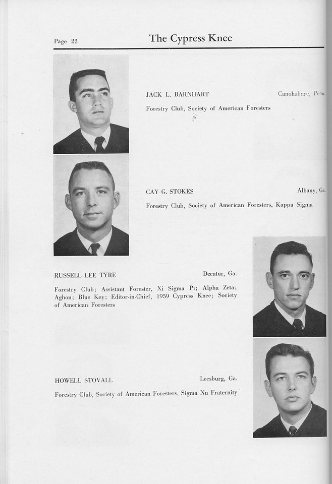 The Cypress Knee, 1959, Seniors, Jack L. Barnhart, Cay G. Stokes, Russell Lee Tyre, Howell Stovall, pg. 22