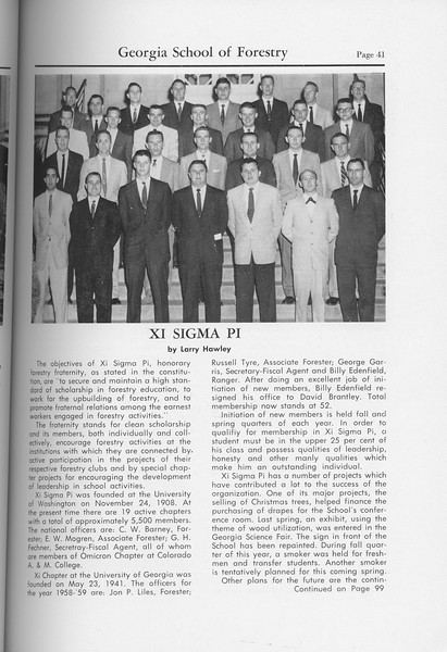 The Cypress Knee, 1959, Xi Sigma Pi, Larry Hawley, pg. 41