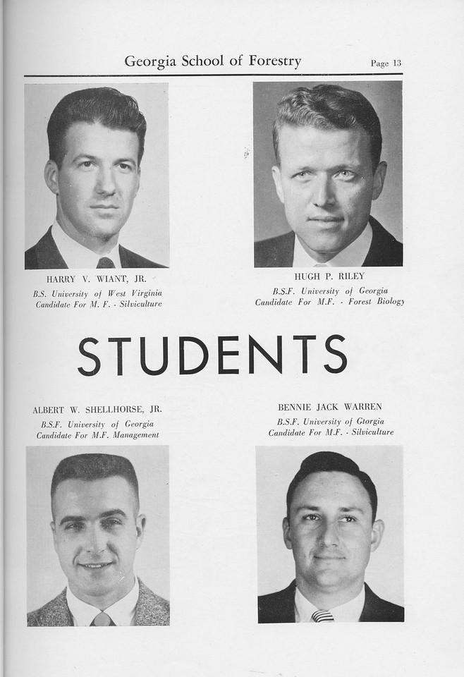 The Cypress Knee, 1959, Graduate Students, Harry V. Wiant Jr., Hugh P. Riley, Albert W. Shellhorse Jr., Bennie Jack Warren, pg. 13