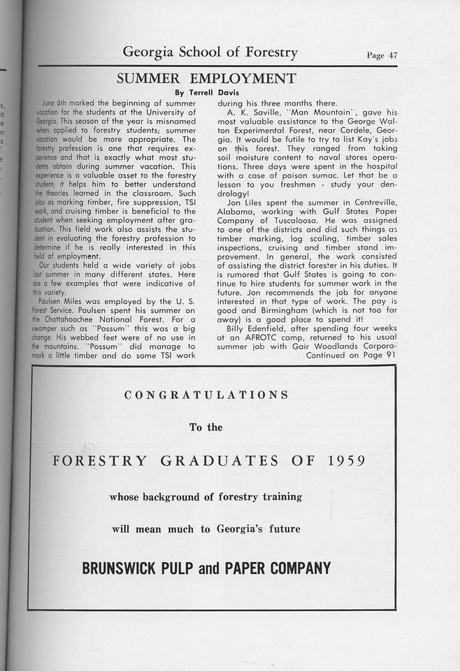 The Cypress Knee, 1959, Summer Employment, Terrell Davis, Brunswick Pulp and Paper Company, pg. 47