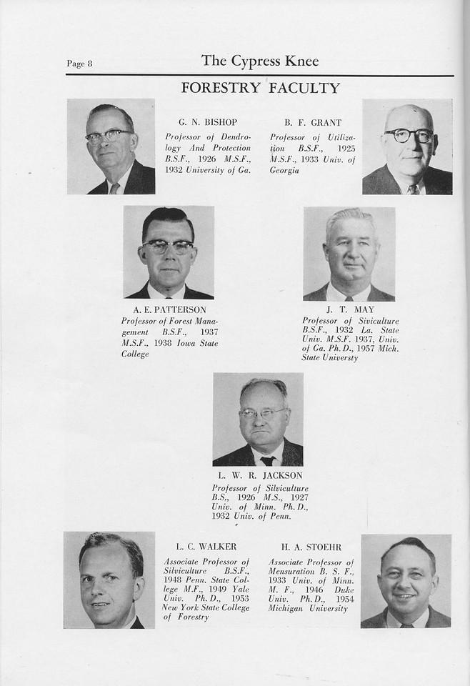 The Cypress Knee, 1959, Faculty, G. N. Bishop, B. F. Grant, A. E. Patterson, J. T. May, L. W. R. Jackson, L. C. Walker, H. A. Stoehr, pg. 8