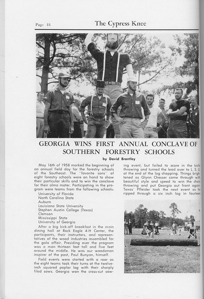 "The Cypress Knee, 1959, ""Georgia Wins First Annual Conclave of Southern Forestry School"", David Brantley, pg. 44"