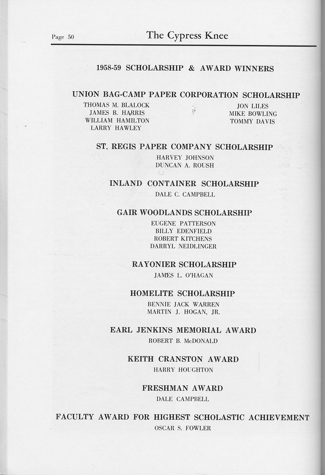 The Cypress Knee, 1959, Scholarships and Awards, pg. 50