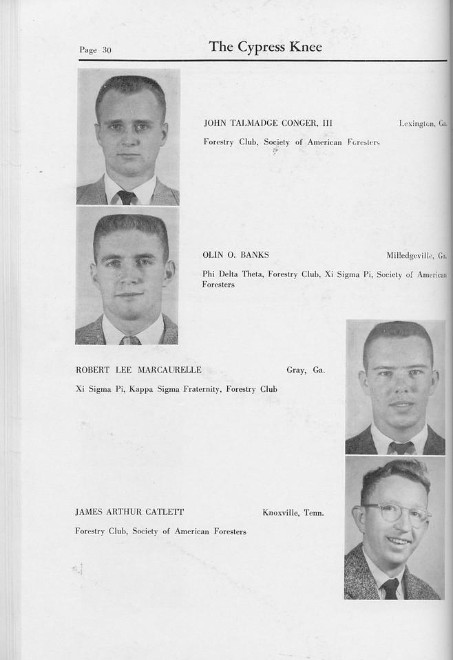 The Cypress Knee, 1959, Seniors, John Talmadge Conger, Olin O. Banks, Robert Lee Marcaurelle, James Arthur Catlett, pg. 30