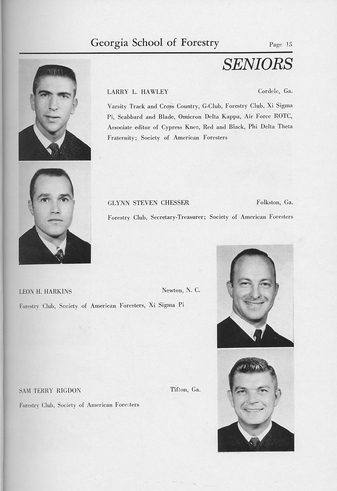 The Cypress Knee, 1959, Seniors, Larry L. Hawley, Glynn Steven Chesser, Leon H. Harkins, Sam Terry Rigdon, pg. 15