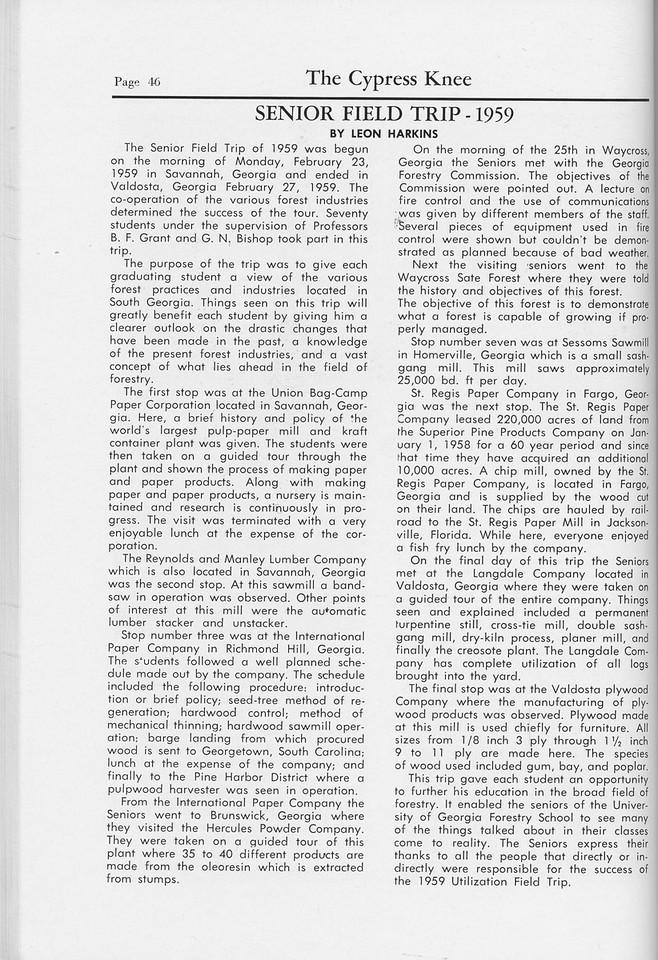 The Cypress Knee, 1959, Senior Field Trip-1959, Leon Harkins, pg. 46