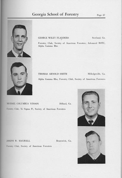 The Cypress Knee, 1959, Seniors, George Wiley Flanders, Thomas Arnold Smith, Michael Columbus Vinson, Joseph W. Maxwell, pg. 27