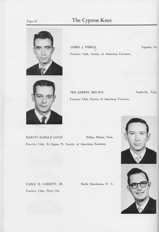 The Cypress Knee, 1959, Seniors, James J. Pirkle, Ted Kirwin Melton, Marvin Harold Lovin, Earle M. Garrett, pg. 16