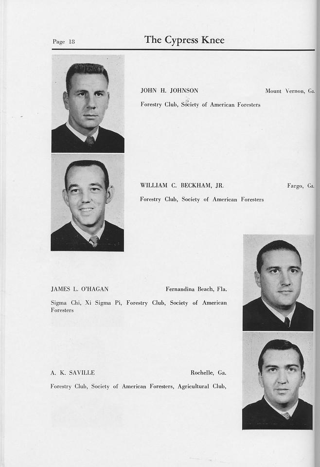 The Cypress Knee, 1959, Seniors, John H. Johnson, William C. Beckham, James L. O'Hagan, A. K. Saville, pg. 18