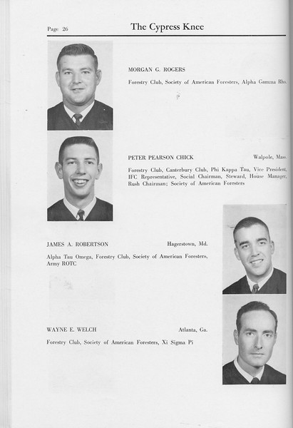 The Cypress Knee, 1959, Seniors, Morgan G. Rogers, Peter Pearson Chick, James A. Robertson, Wayne E. Welch, pg. 26