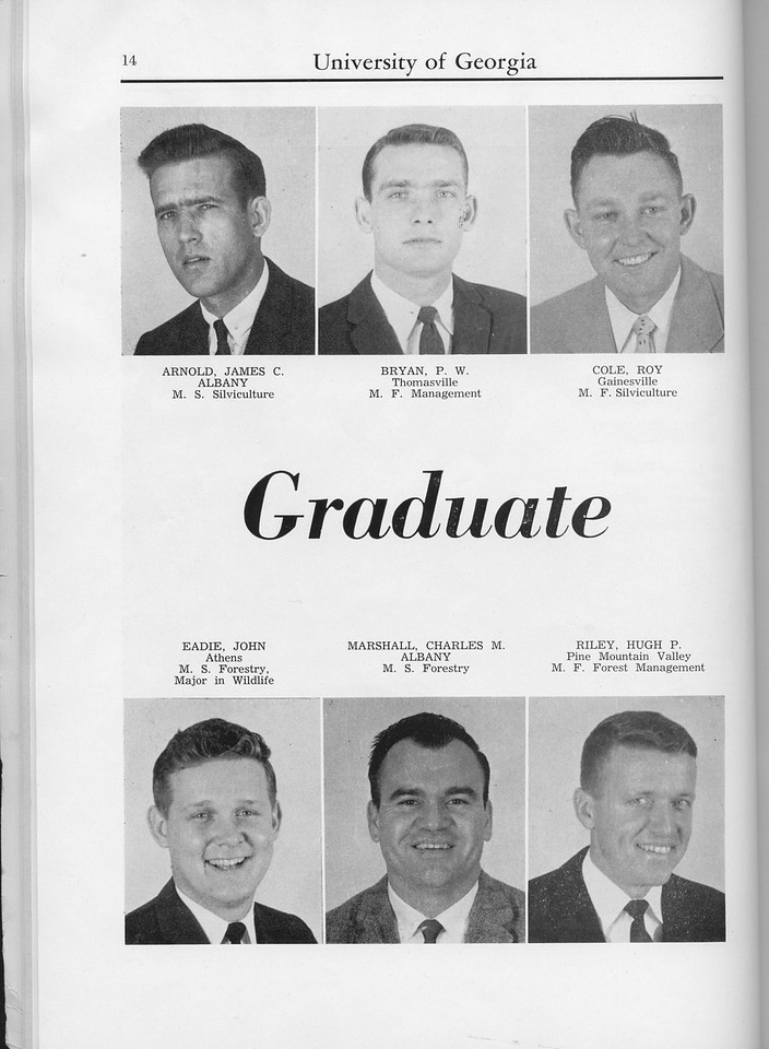 The Cypress Knee, 1960, Graduate Students, James C. Arnold, P. W. Bryan, Roy Cole, John Eadie, Charles M. Marshall, Hugh P. Riley, pg. 14