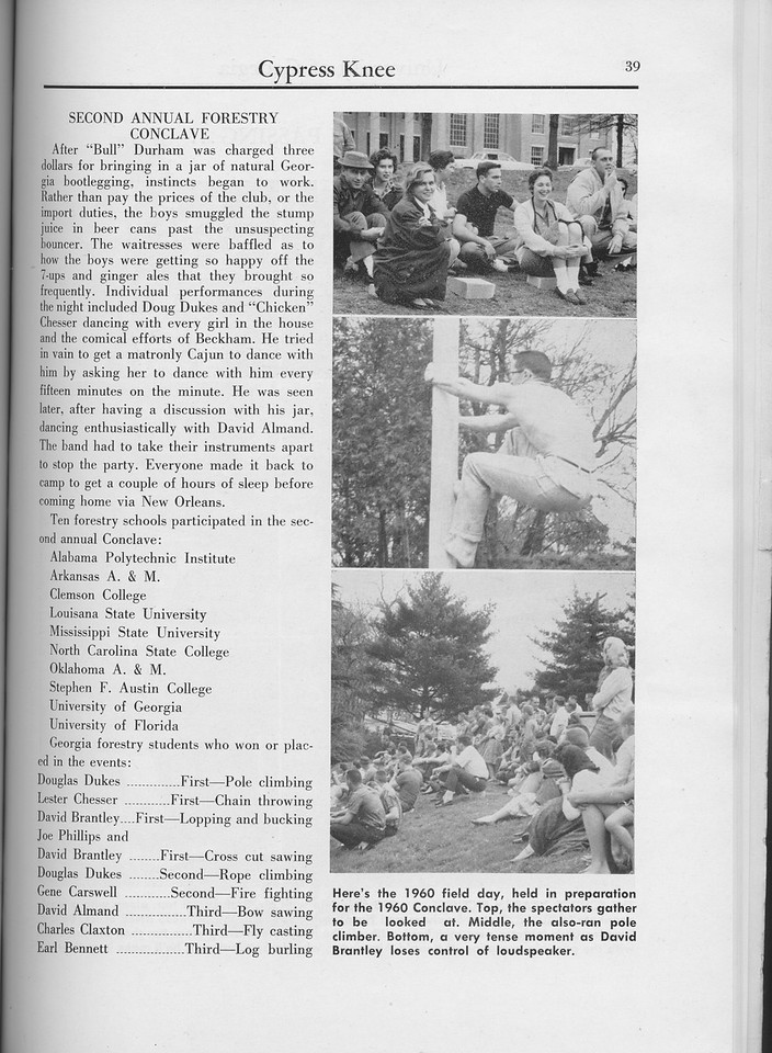 "The Cypress Knee, 1960, ""Second Annual Forestry Conclave"", pg. 39"
