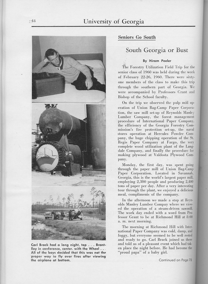 "The Cypress Knee, 1960, ""South Georgia or Bust"", Hiram Peeler, pg. 44"